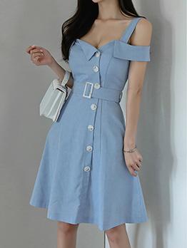 Solid Color Open Shoulder Single-Breasted Strap Dress