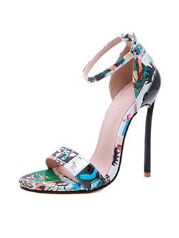 Fashion Design Mixed Color Printing Stiletto Sandals