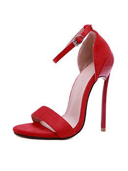 Minimalist Solid Color Suede Women Heeled Sandals