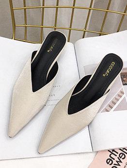 Versatile Solid Color V Design Pointed Toe Mules Shoes