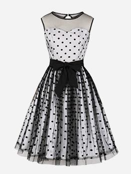 Vintage Polka Dot Tie-Wrap Tulle Sleeveless Dress
