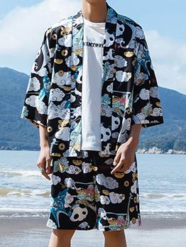 Stylish Panda Printed Shirt With Shorts For Men