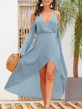 Deep v Off Shoulder Long Flare Sleeve Midi Dress