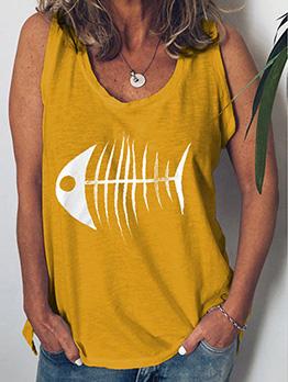 Crew Neck Printed Sleeveless Tank For Women