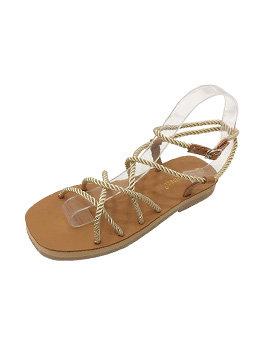 Roman Lace Up Flat Sandal Lady Shoes Wholesale