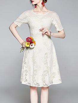 Elegant Smocked Waist Lace Short Sleeve Dresses