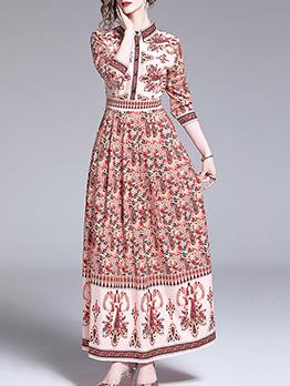 Turndown Neck Single-Breasted Print Blush Maxi Dress