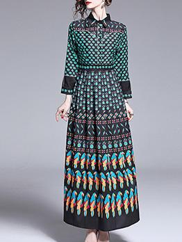 Multiple Patterns Printed Long Sleeve Maxi Dresses