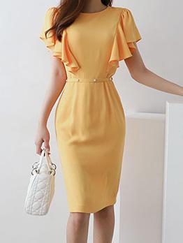 Solid Color Smocked Waist Ruffles Sleeve Dress