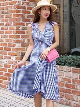 Summer V Neck Flounce Hem Plaid Sleeveless Dress