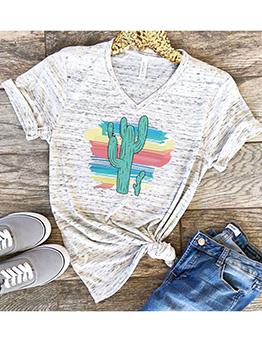 Sweet Style Cactus Printed Short Sleeve Tee
