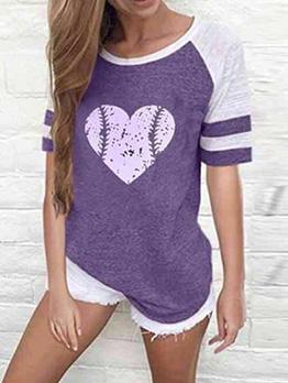 Raglan Sleeve Heart Printed Summer T-Shirt