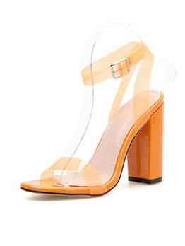 Orange Chunky Heels Designer Shoes For Women
