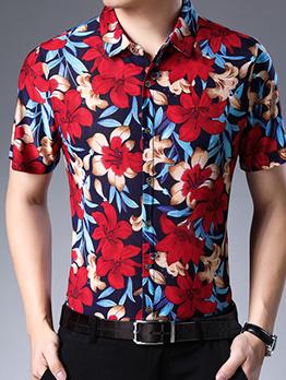Single-Breasted Flower Printed Short Sleeve Shirt