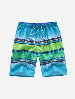 Beach Style Colorblock Printed Men Half Pants