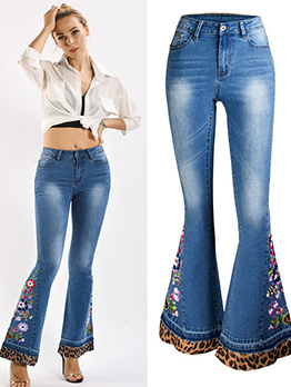 Leopard Print Flower Embroidery Denim Flare Pants