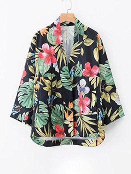 Kimono Style Plants Printed Long Sleeve Cardigan