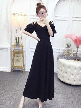 V Neck Flare Sleeve Solid Evening Dresses