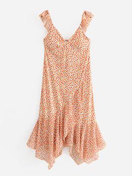 Retro V Neck Printed Irregular Hem Sleeveless Dress