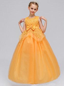 Sleeveless Binding Bow Lace Girls Dress