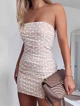 Off Shoulder Polka Dot Strapless Bodycon Dress