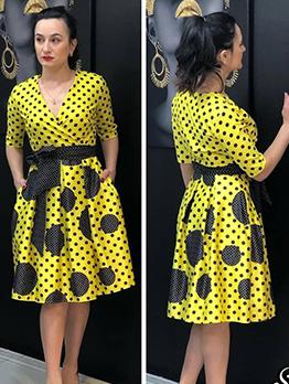 Polka Dot V Neck Short Sleeve Dress With Belt