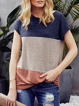 Contrast Color Crew Neck Short Sleeve Women T-shirts