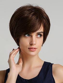 Brown Side Bang Straight Bob Female Human Hair