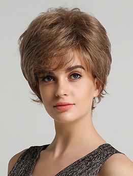 Side Bang Brown Curl Human Hair For Women