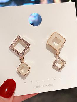 Simple Square Pattern Shell Rhinestone Women Earrings