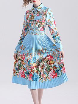 Turndown Collar Printed Pleated Long Sleeve Dress