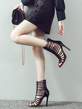 Hollow Out Zipper Up Multiple Belts Stiletto Sandals