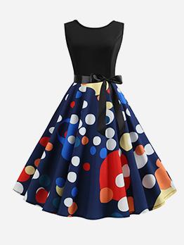 Dot Smart Waist Big Swing Sleeveless Dress