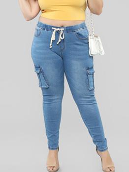 Hot Sale Pocket Drawstring Skinny Women Jeans