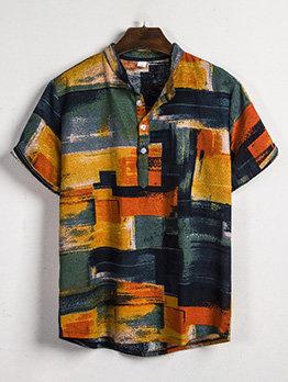 Stylish Color Block Short Sleeve Shirt For Men