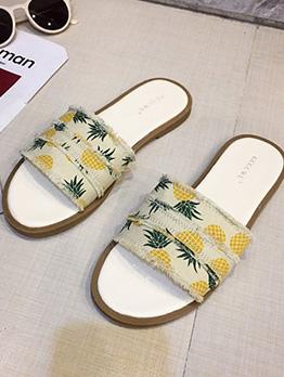 Beach Cozy Printed Flat Lady Slippers