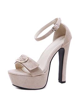 Solid Color Metal Splicing Ankle Strap Platform High Heels