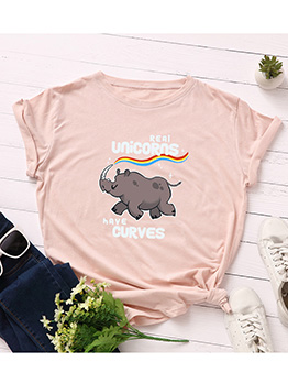 Letter Rhino Printed Cotton Short Sleeve t Shirts