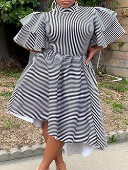 Mock Neck Irregular Hem Ruffles Sleeve Striped Dress