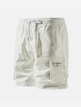 Multiple Pockets Drawstring Men Straight Half Pants