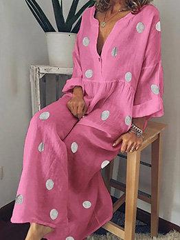 Polka Dot V Neck Long Sleeve Summer Dress