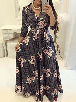 V Neck Tie-Wrap Colorblock Printed Maxi Dress