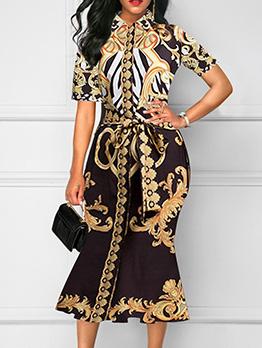 Vintage Printing Tie-Wrap Short Sleeve Midi Dress