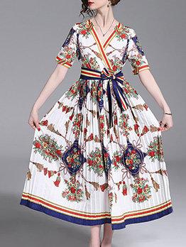V Neck Tie Wrap Printed Pleated Maxi Dress