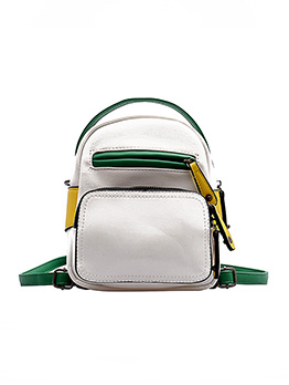 Contrast Color Zipper Mini Backpack For Women