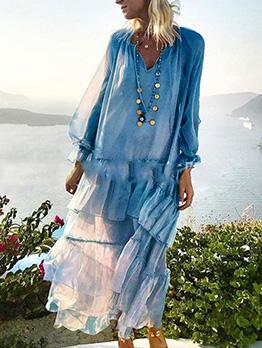 Stringy Selvedge Spliced Ruffled Long Sleeve Maxi Dress