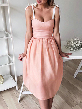 Low-Cut Bow Wrap Fitted Sleeveless Dress