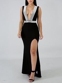 Deep V Neck Diamond Decor Split Hem Maxi Dress