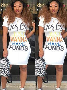 Crew Neck Letter Short Sleeve T-shirt Dress