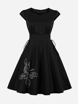 Crew Neck Embroidery Large Hem Short Sleeve Dress